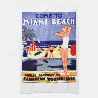 1925 Miami Beach Travel Poster Kitchen Towel