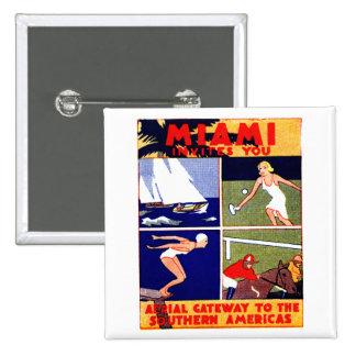 1925 Miami Travel Poster Pinback Button