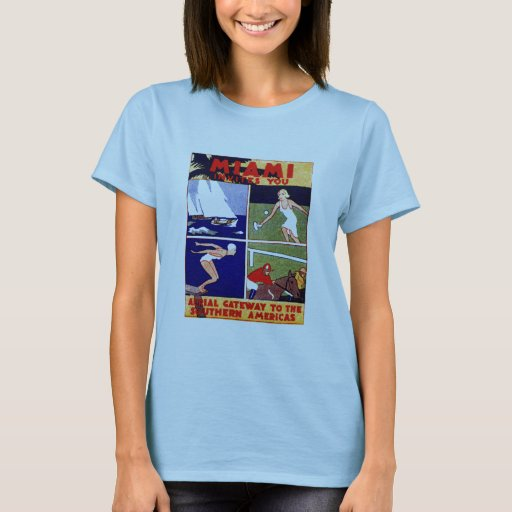 1925 Miami Travel Poster T-Shirt