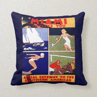 1925 Miami Travel Poster Throw Pillow