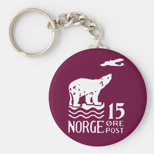 1925 Norwegian Polar Bear Basic Round Button Keychain