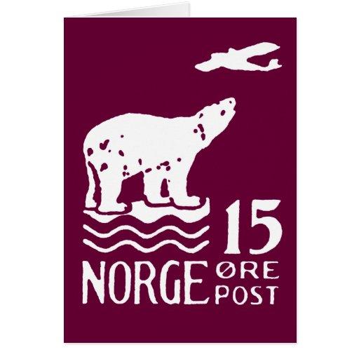 1925 Norwegian Polar Bear Card