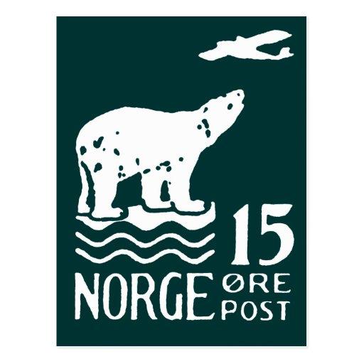 1925 Norwegian Polar Bear Postcard
