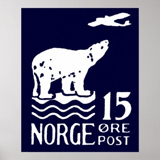 1925 Norwegian Polar Bear Poster