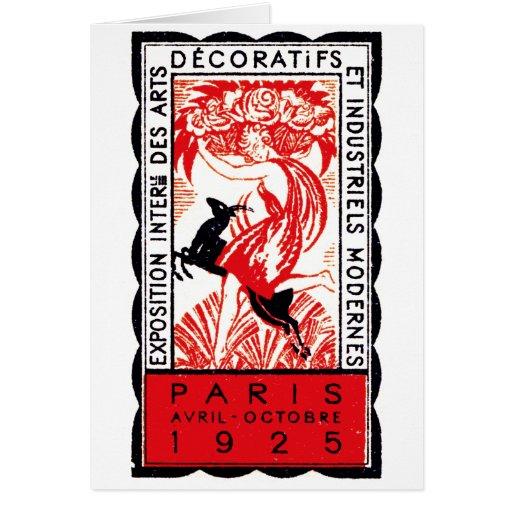 1925 Paris Art Deco Poster Greeting Cards