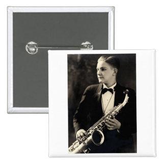 1925 Sax Musician Pinback Button