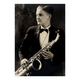 1925 Sax Musician Poster