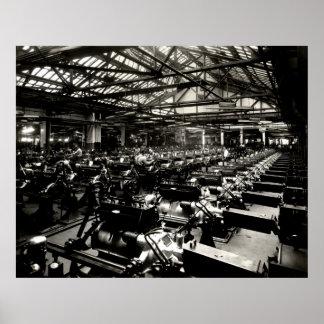 1925 Testing Automobile Motors Poster