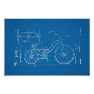 1925 Vintage Tricycle Patent Blueprint Art Print