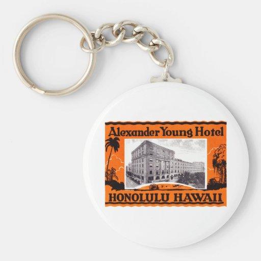 1925 Young Hotel Honolulu Hawaii Basic Round Button Keychain