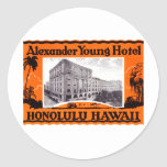 1925 Young Hotel Honolulu Hawaii Round Stickers