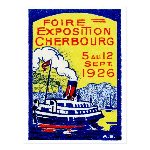 1926 Cherbourg France Poster Post Card