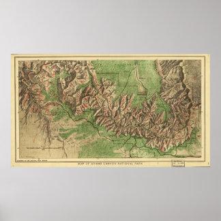 1926 Map of Grand Canyon National Park Arizona Poster
