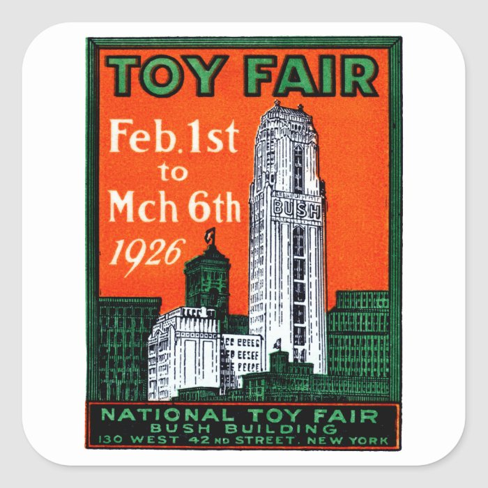 1926 Toy Fair Poster Square Sticker