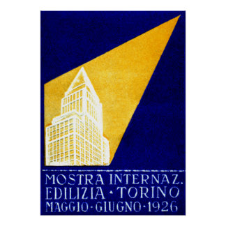 1926 Turin Italy Building Expo Poster