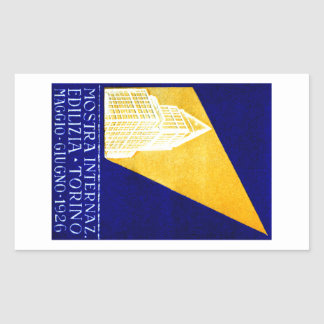 1926 Turin Italy Building Expo Poster Rectangular Sticker