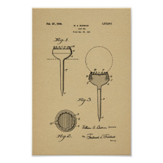 1926 Vintage Golf Ball Tee Patent Art Print