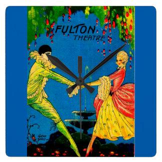 1927 Fulton Theatre program cover art Square Wall Clock
