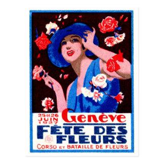 1927 Geneva Flower Show Poster Postcard
