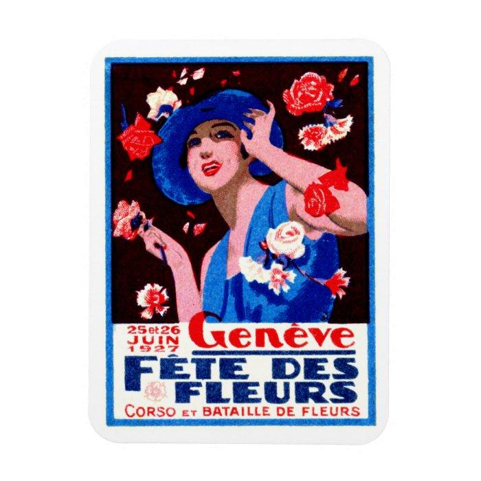 1927 Geneva Flower Show Poster Rectangular Photo Magnet