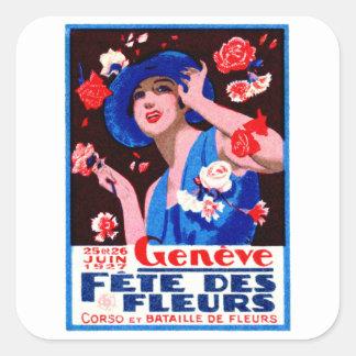 1927 Geneva Flower Show Poster Square Sticker