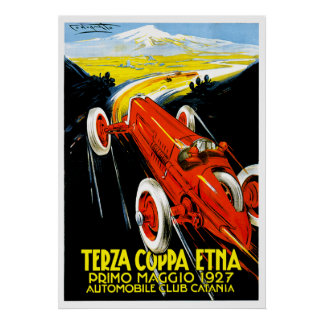 1927 Terza Coppa Etna Auto Road Rally Ad Poster