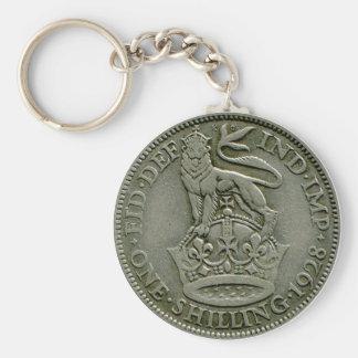 1928 British shilling keyring Basic Round Button Keychain