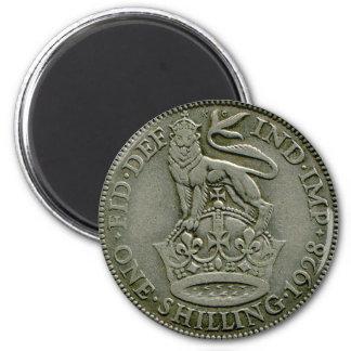 1928 British shilling magnet