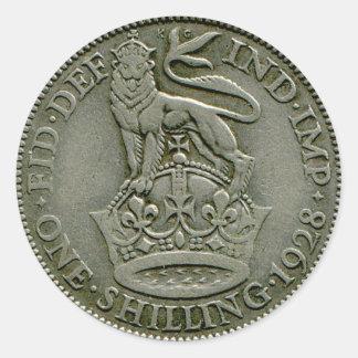 1928 British shilling sticker