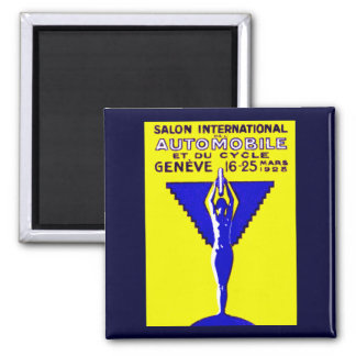 1928 Geneve Car and Motorcycle Show 2 Inch Square Magnet