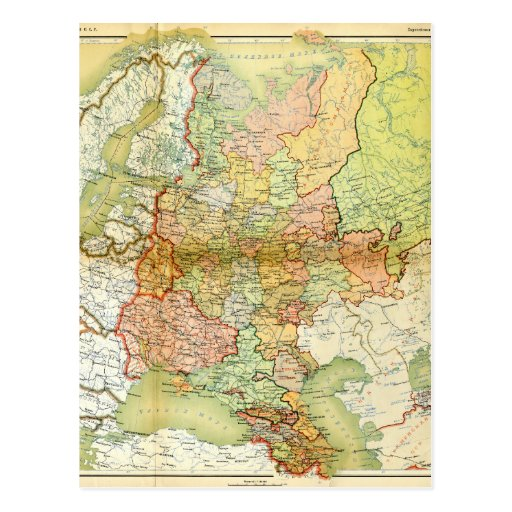 1928 Map of Old Soviet Union USSR Russia Postcards