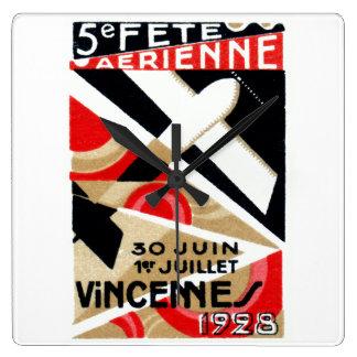 1928 Paris Air Show Square Wall Clock