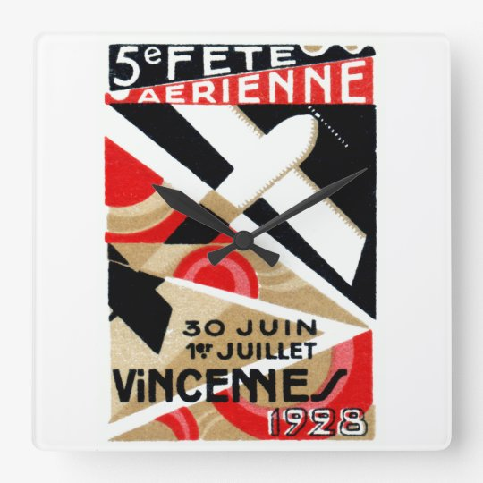 1928 Paris Air Show Square Wall Clock