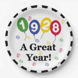1928 placas de papel de un cumpleaños del gran año platos de papel