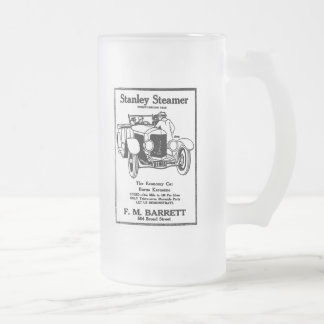 1928 Stanley Steamer illustration Frosted Glass Beer Mug