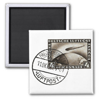 1928 Zepplin Airmail 2 Inch Square Magnet