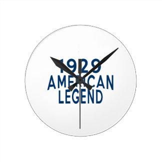 1929 American Legend Birthday Designs Round Clock