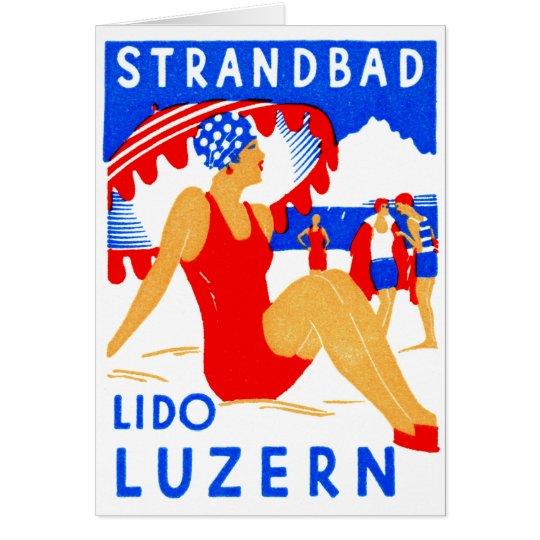 1929 Art Deco Strandbad Lido Luzern Card