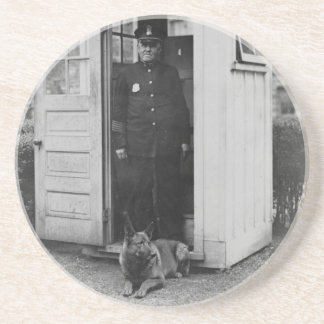 1929 Belgian police dog at White House Sandstone Coaster