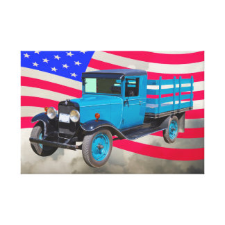 1929 Chevy 1 Ton Truck and American Flag Canvas Prints