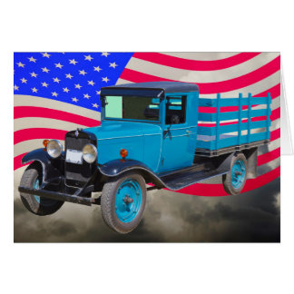 1929 Chevy 1 Ton Truck and American Flag Card