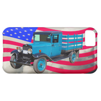 1929 Chevy 1 Ton Truck and American Flag Case For iPhone 5C
