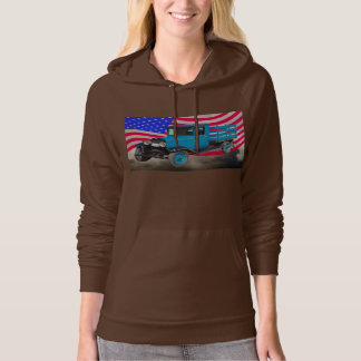 1929 Chevy 1 Ton Truck and American Flag Hoodie