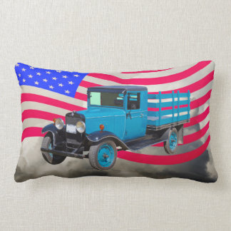 1929 Chevy 1 Ton Truck and American Flag Lumbar Pillow