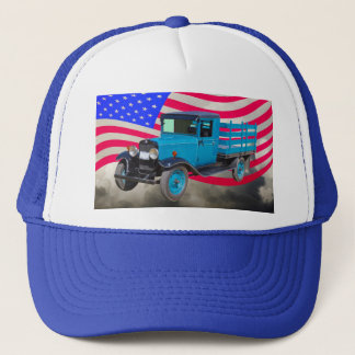 1929 Chevy 1 Ton Truck and American Flag Trucker Hat