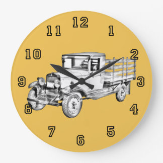 1929 chevy truck 1 ton stake Body Illustration Large Clock