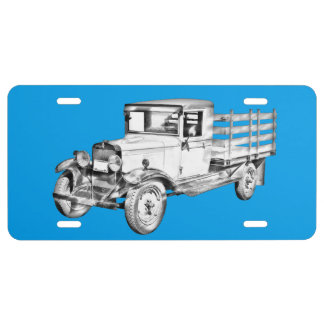 1929 Chevy Truck 1 Ton Stake Body Illustration License Plate