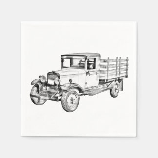 1929 chevy truck 1 ton stake Body Illustration Paper Napkins