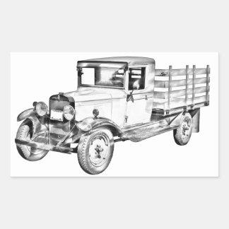 1929 chevy truck 1 ton stake Body Illustration Rectangular Sticker