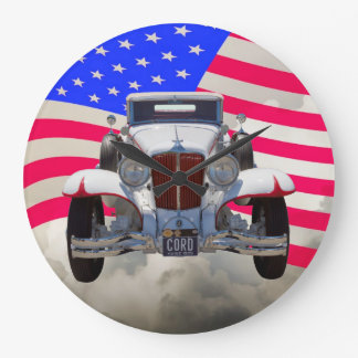 1929 Cord 6-29 Cabriolet and American Flag Large Clock